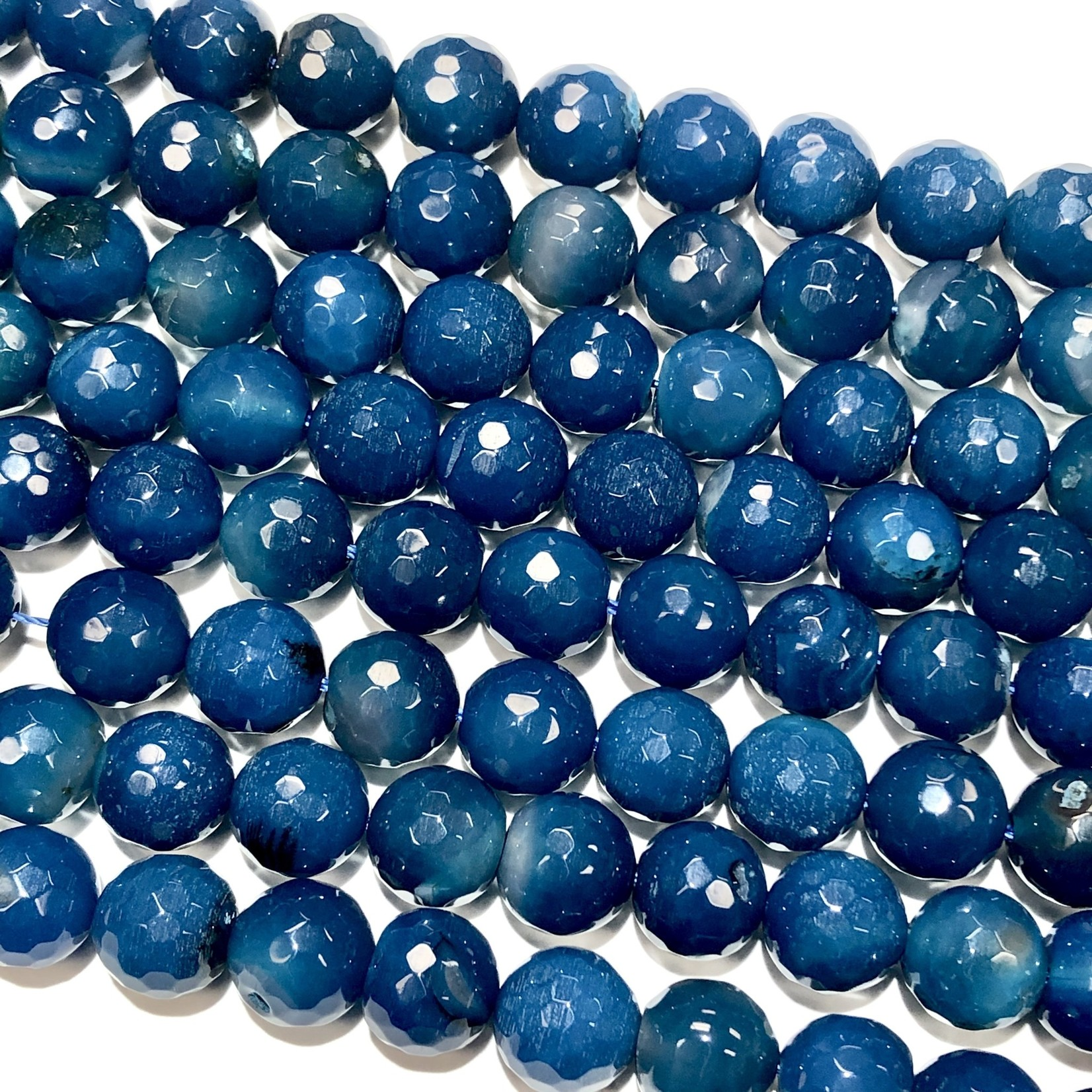 Banded AGATE Dyed Midnight Blue 10mm Faceted