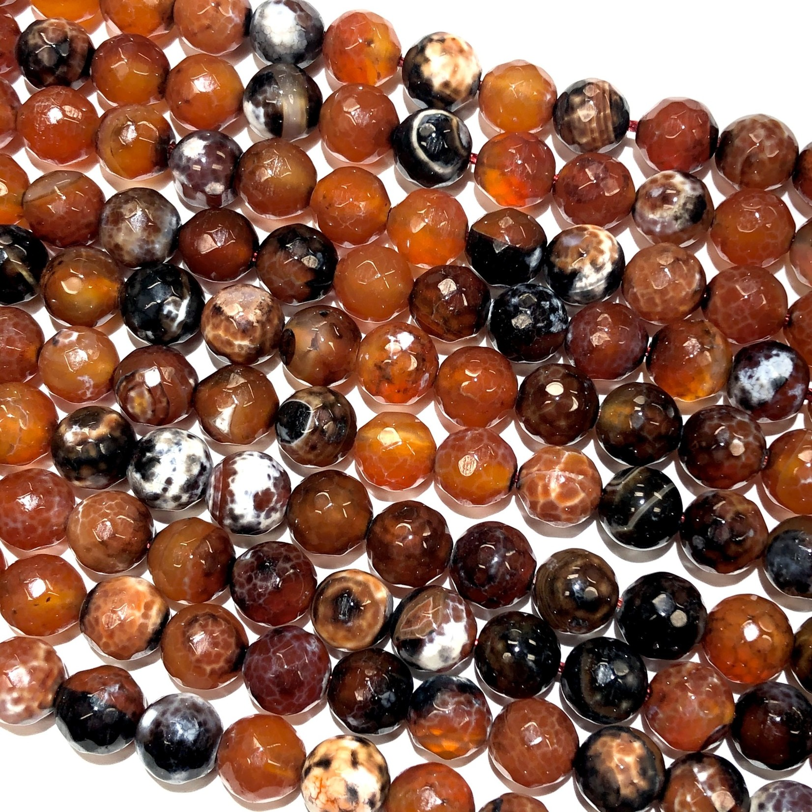 Fire Agate Dyed & Heated Dk Ogange 10mm Faceted