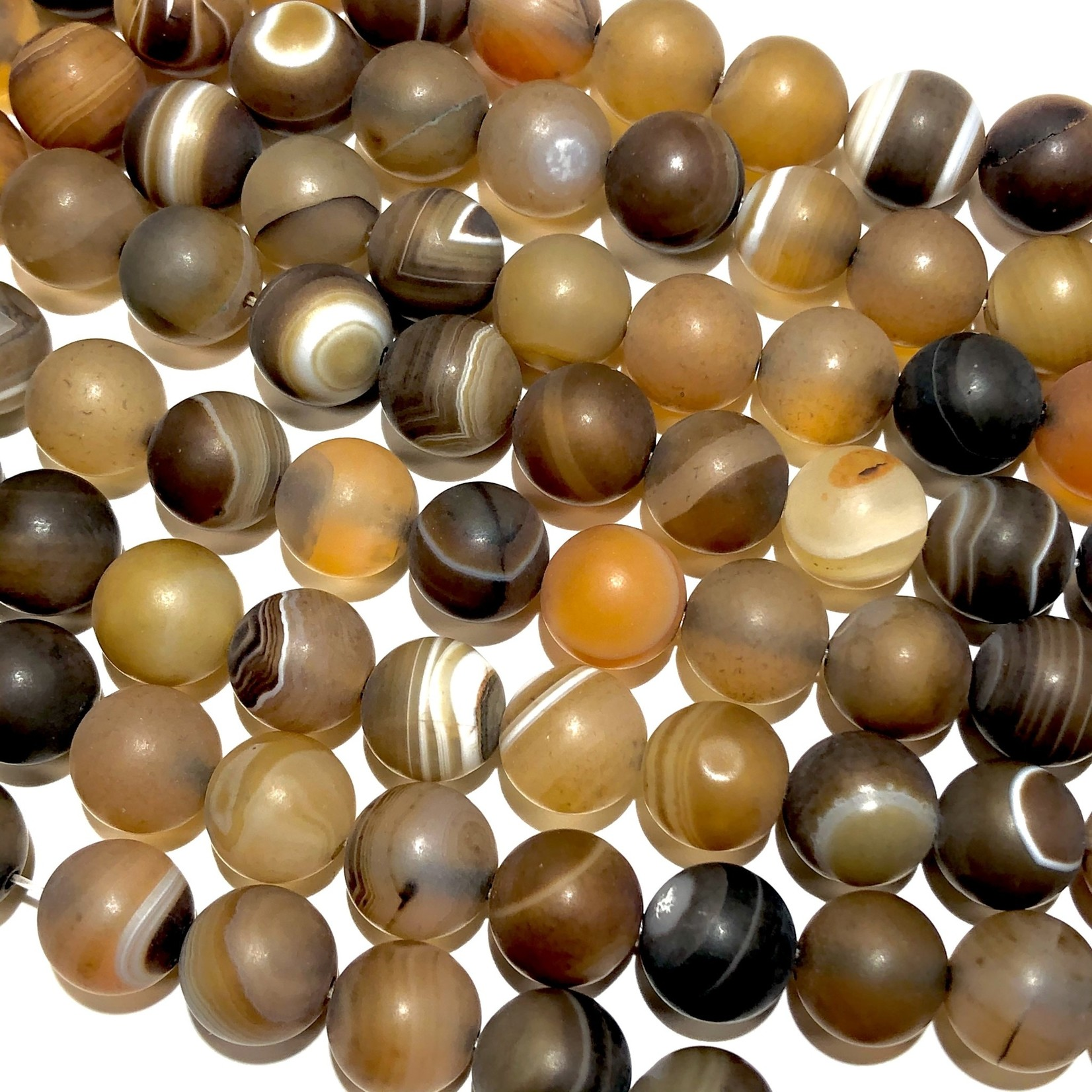 Banded AGATE Frosted Dyed Coconut 10mm Round