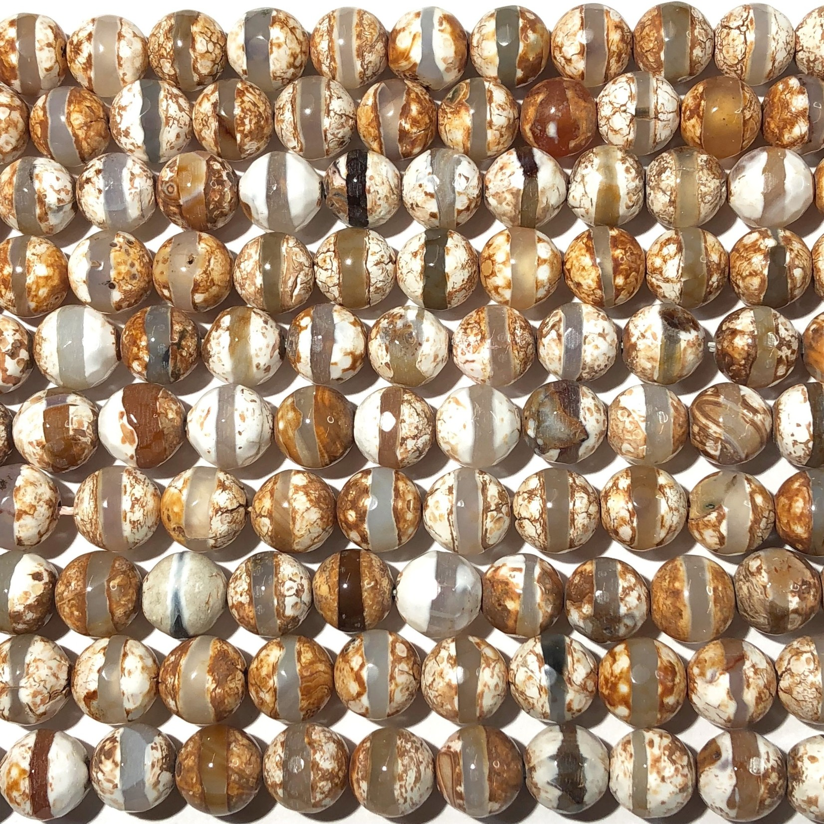 AGATE dZi Bisque 10mm Faceted