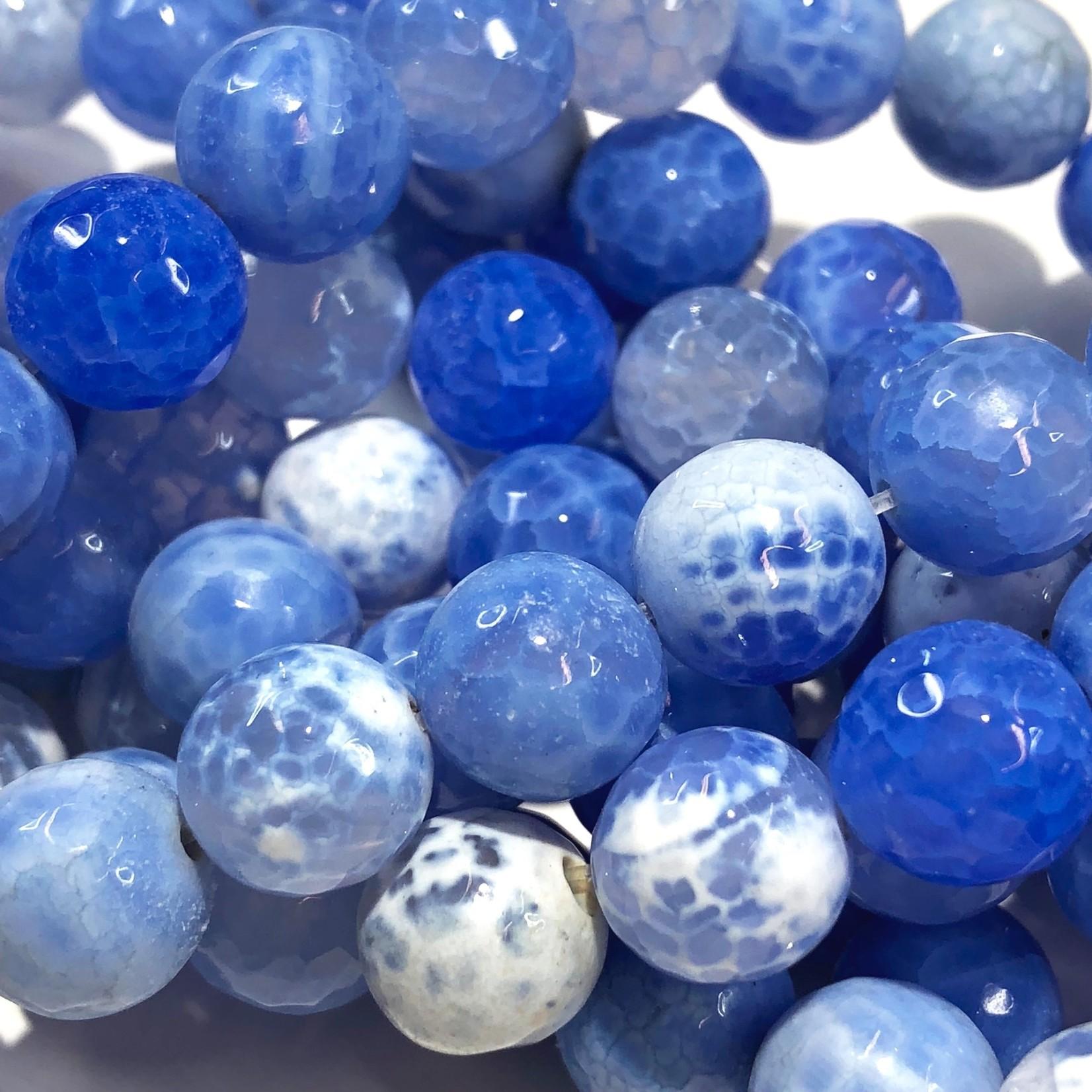 FIRE AGATE Dyed Cornflower Blue 10mm Round
