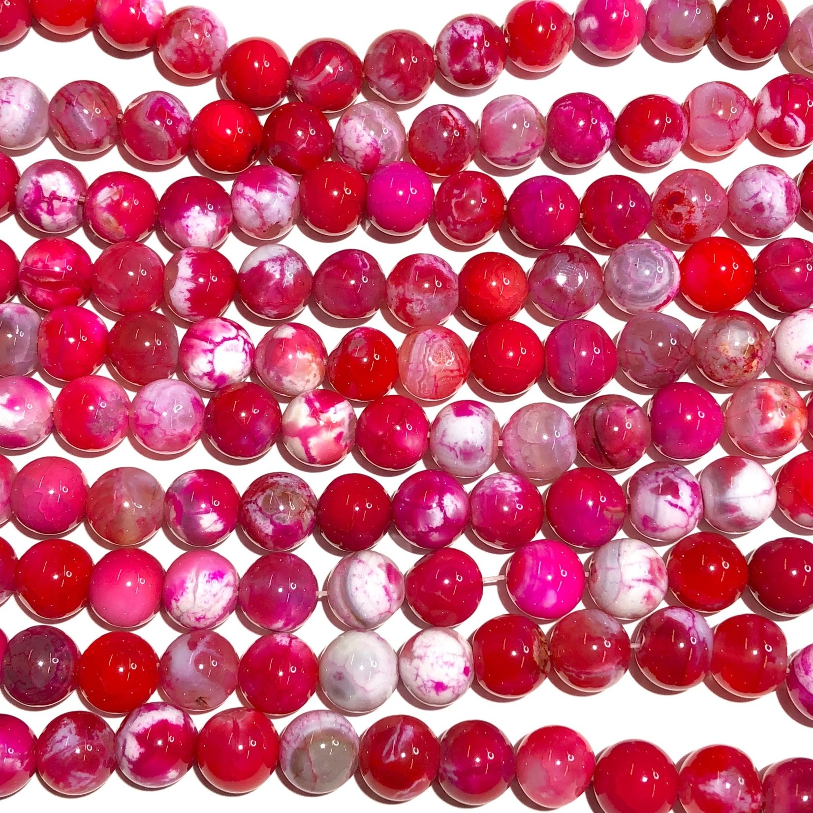AGATE Cracked Dyed Strawberry Pink 10mm Round