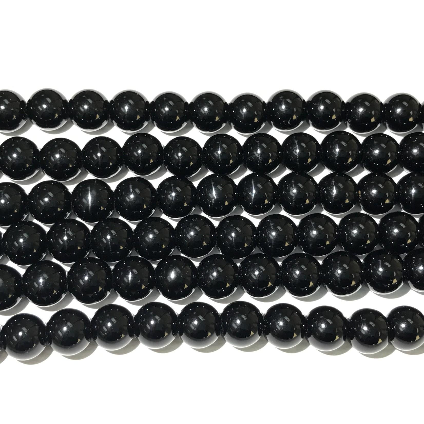 Agate Round Beads - Black - 10mm