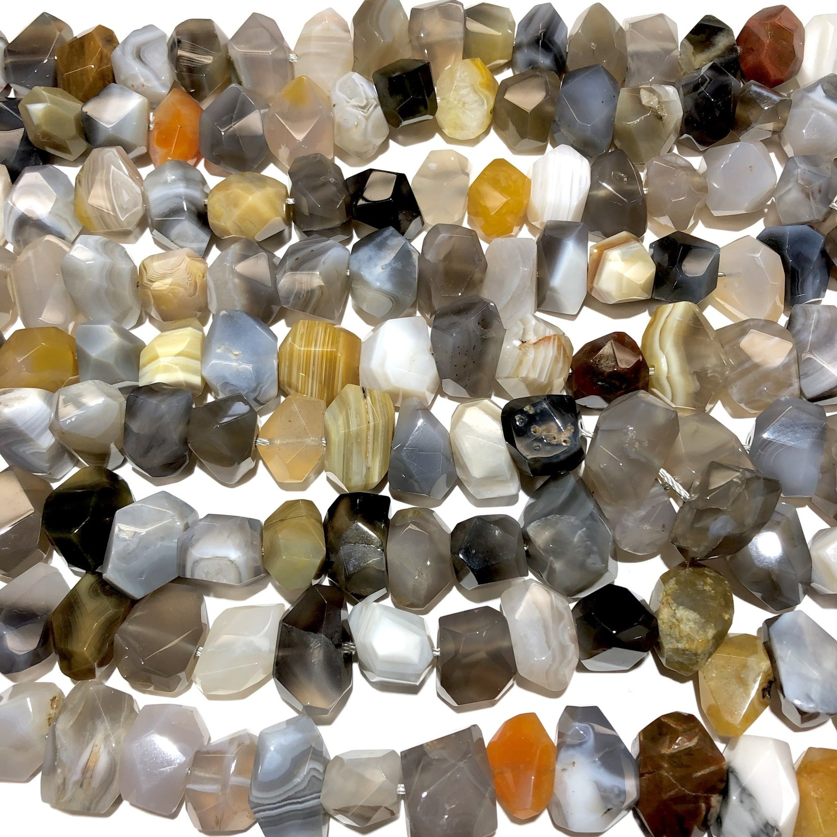 Botswana Agate Grade A Faceted Nuggets - Grey
