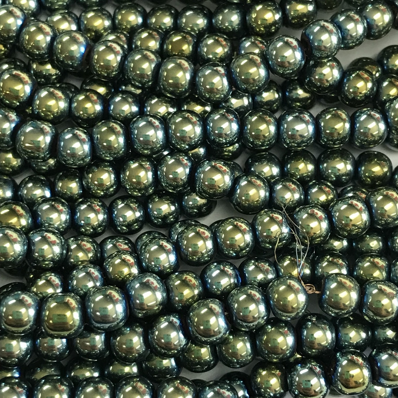 Electroplated Hematite Green 8mm Round