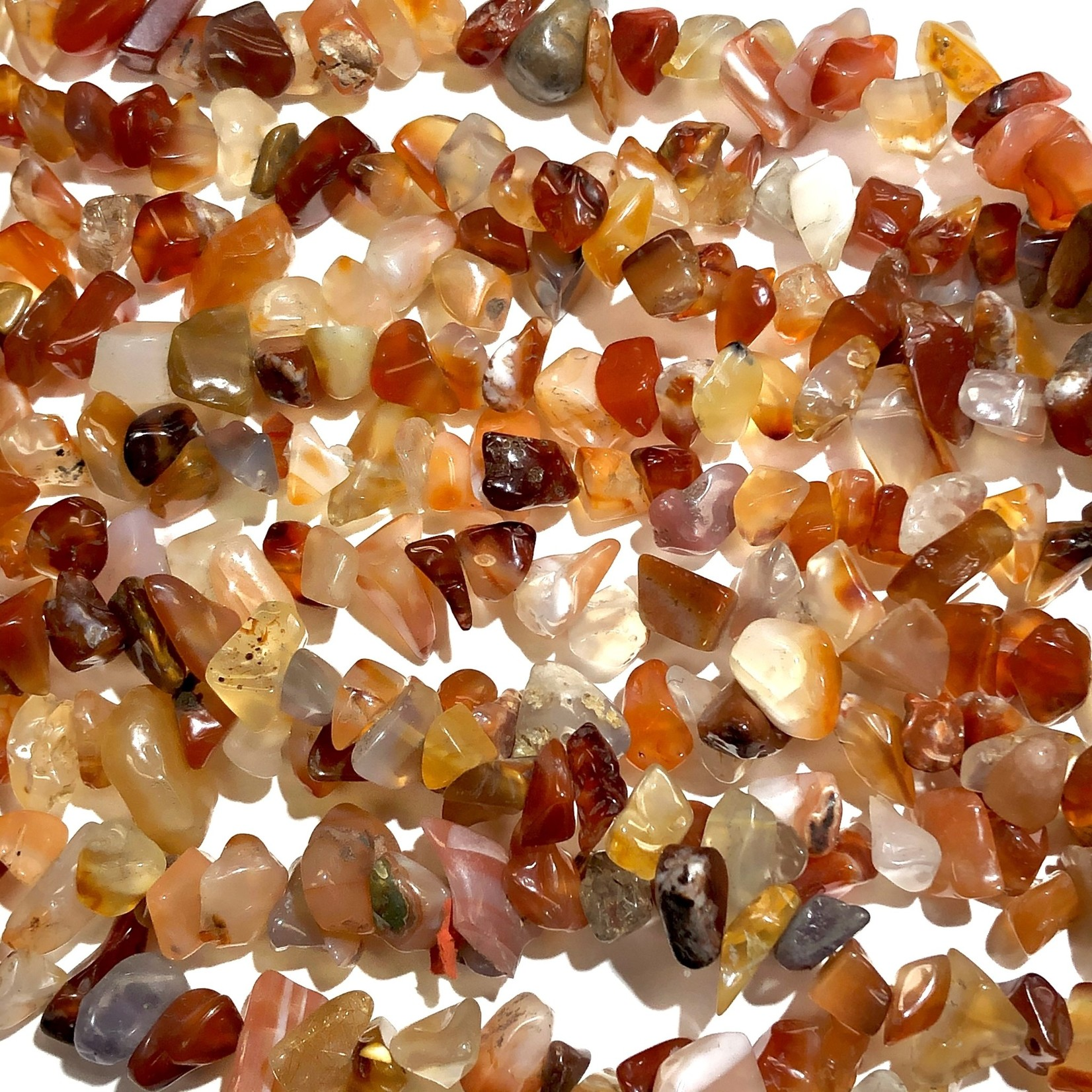 """AGATE Natural Red Chips 34"""" Strand"""