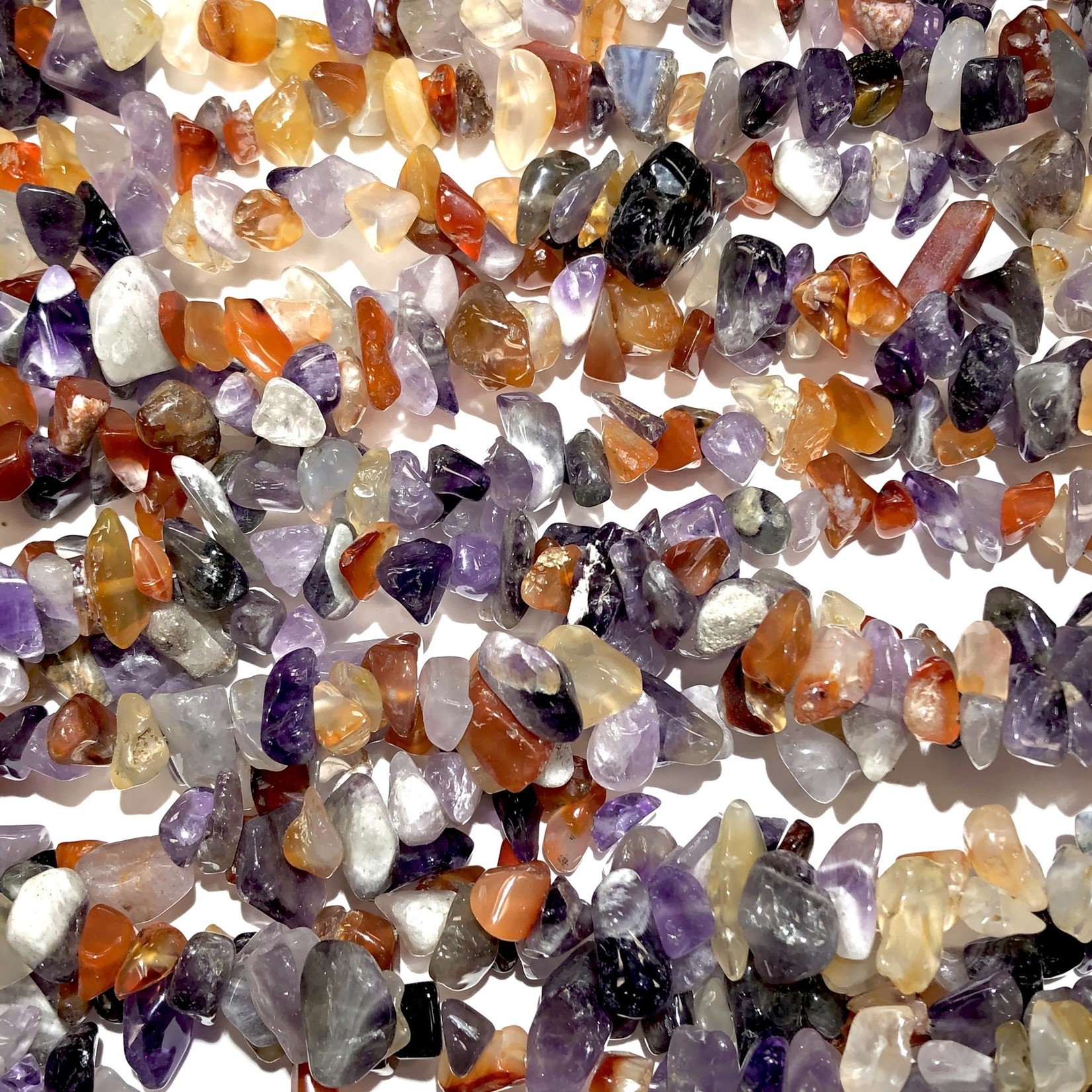 """Amethyst and Red Agate Chip Beads 32"""" strand"""