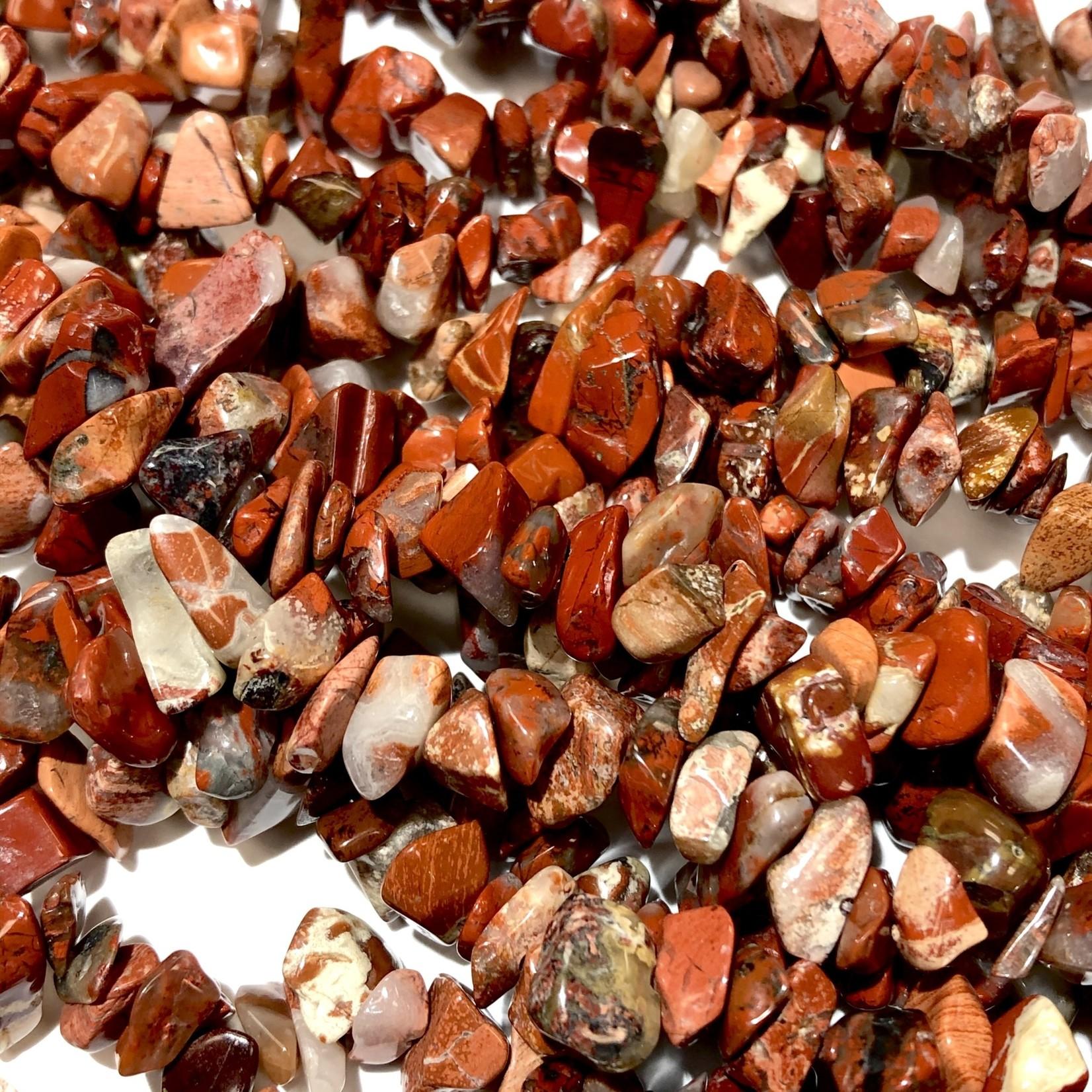 "BRECCIATED JASPER Natural Chip Beads 34"" strand"