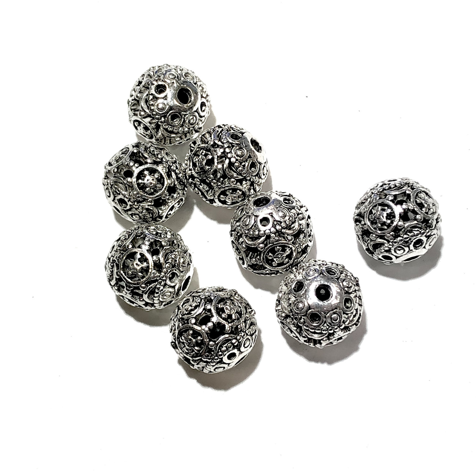 Antique Silver Alloy Decorative Bead 11mm 8pcs