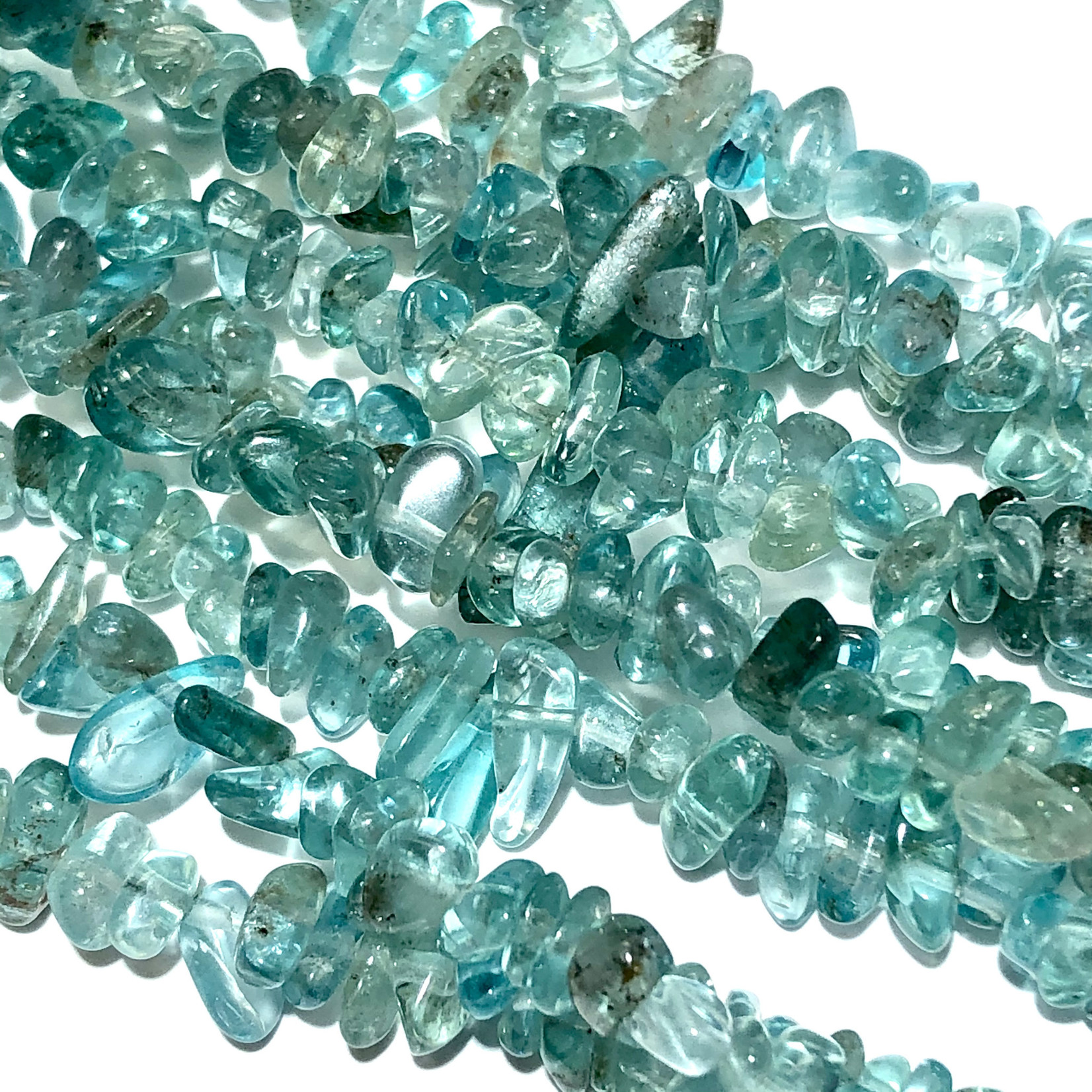 """Blue/Green APATITE Natural Chip Beads 34"""" Strand"""