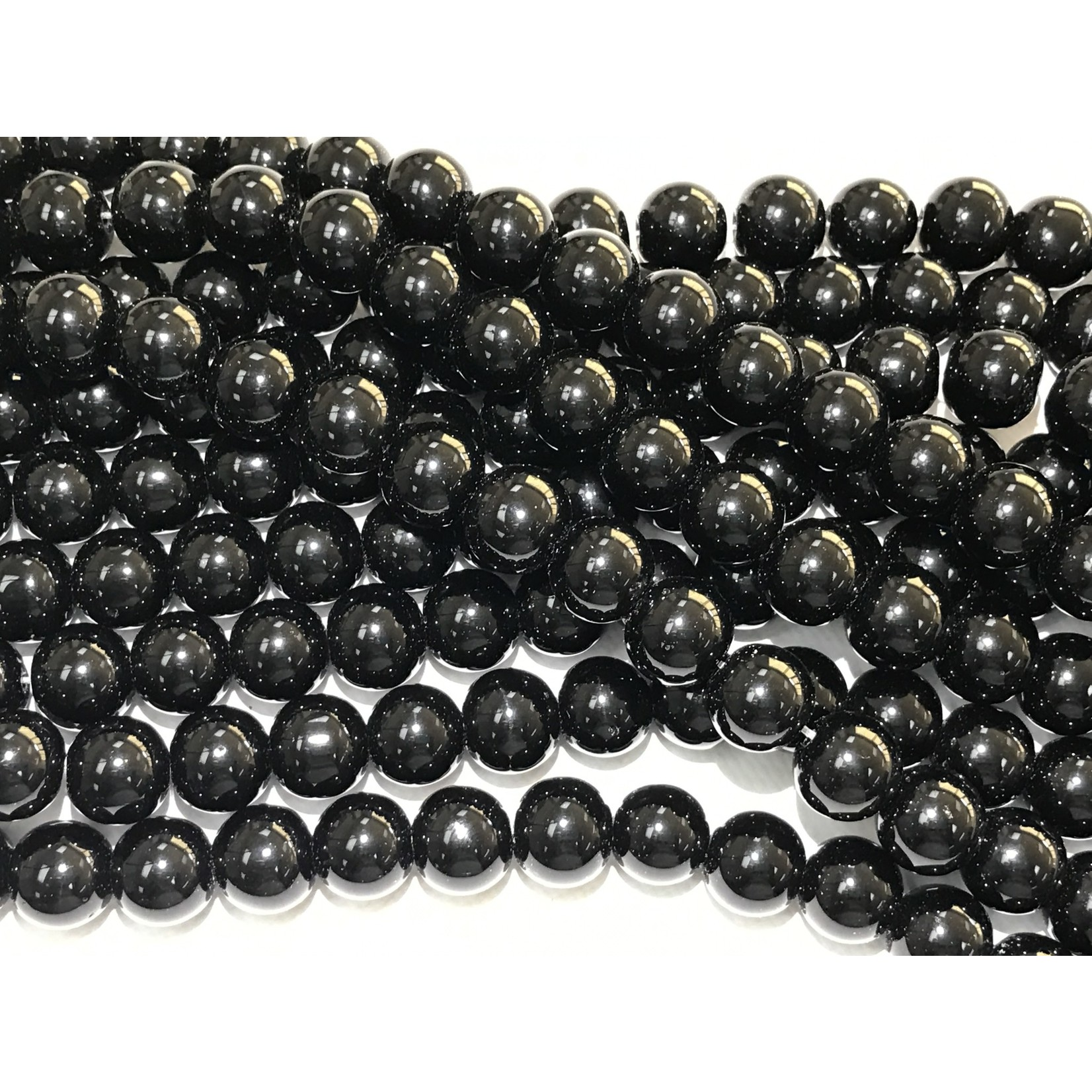 Agate Round Beads - Black - 14mm