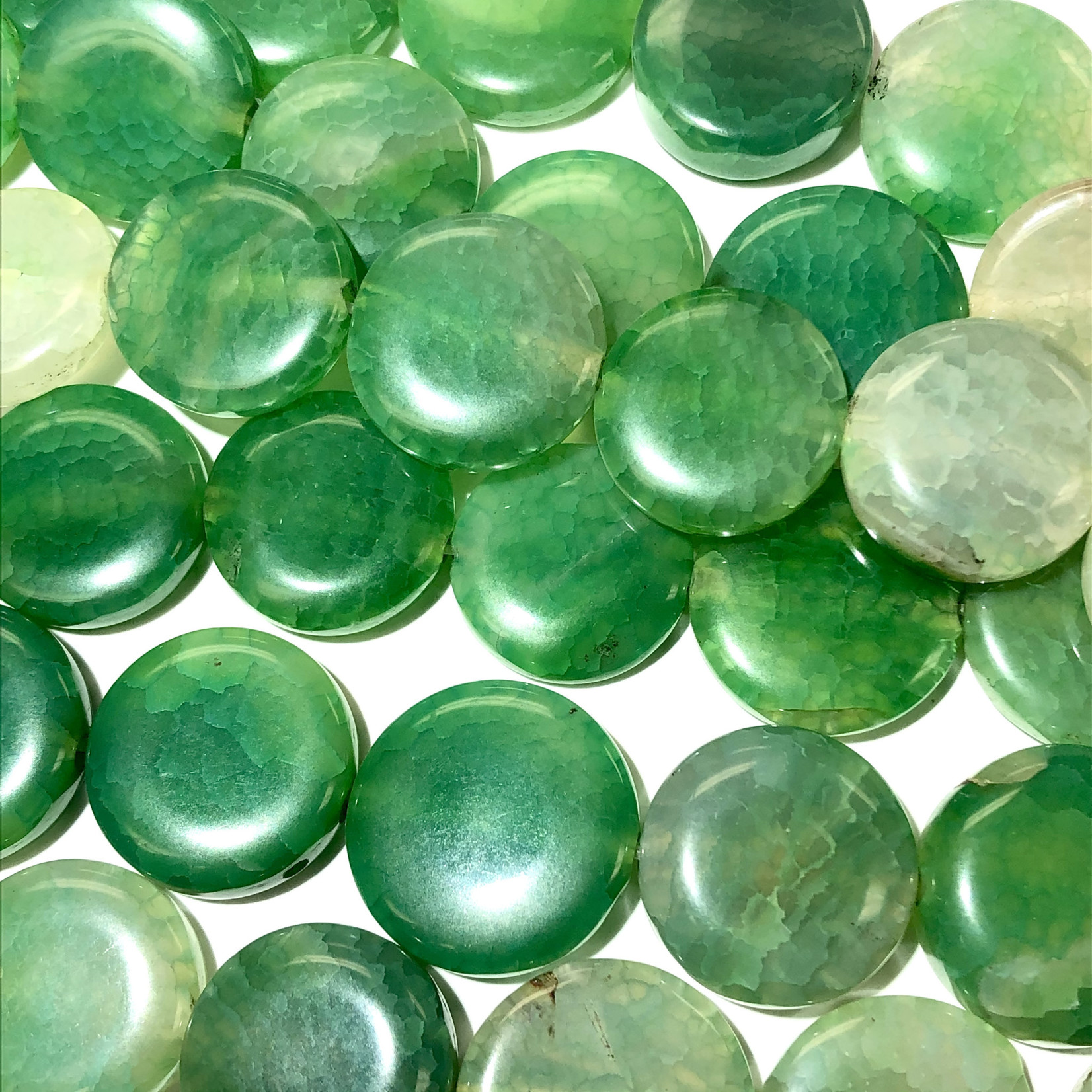 AGATE Fire Dyed Green 20-22mm Flat Coin