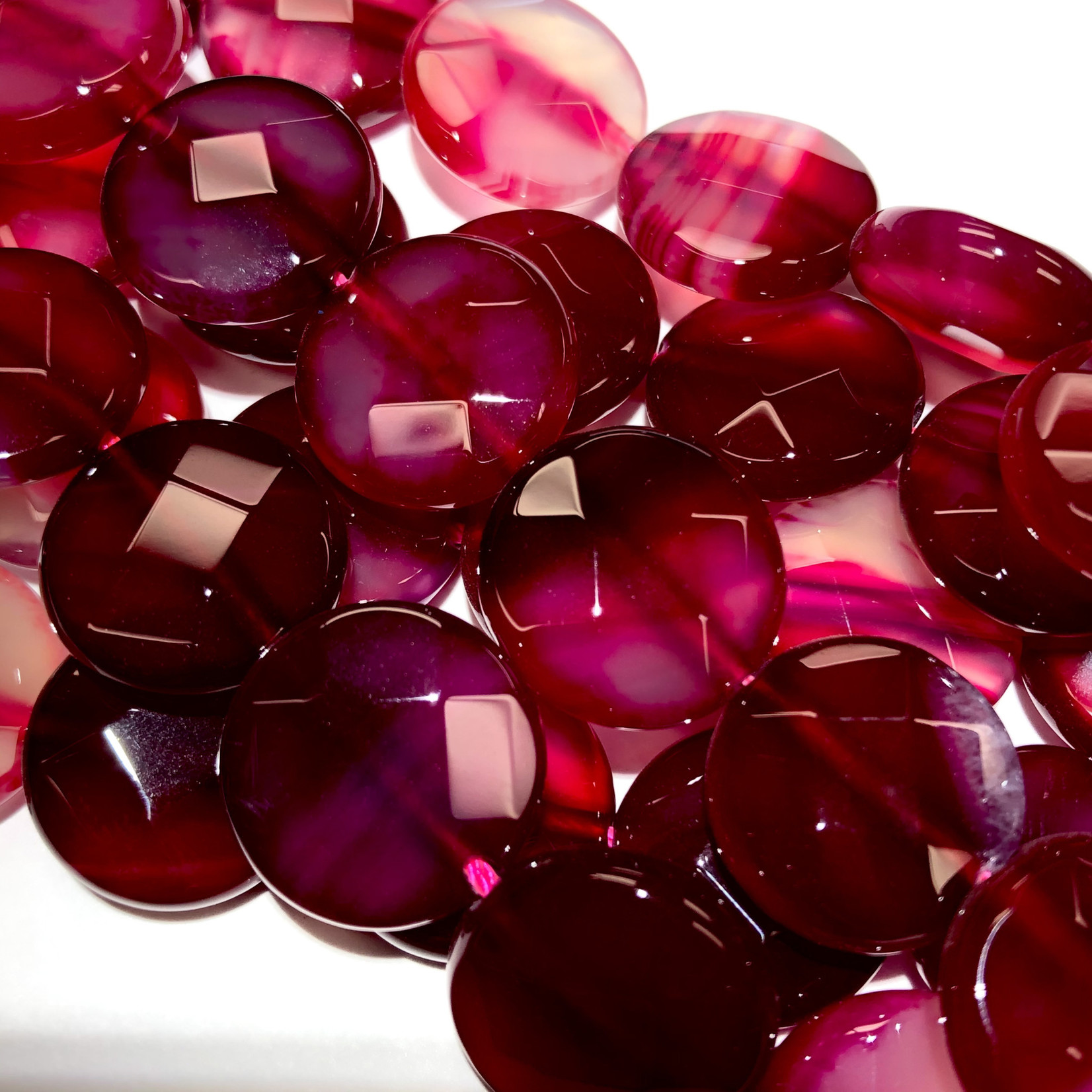 AGATE Dyed Fuchsia Faceted Coins 16mm