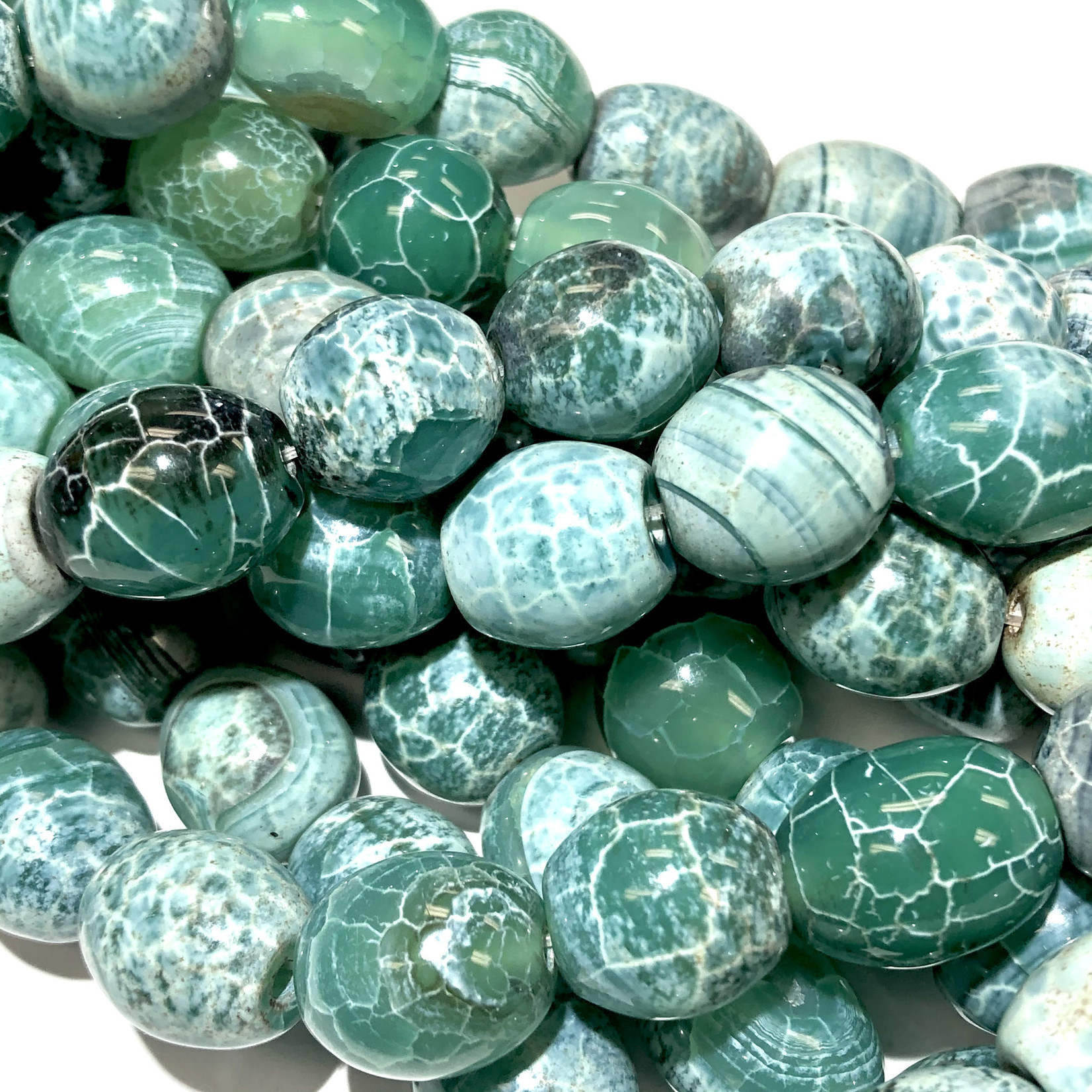 AGATE Fire Dyed Green 14 x 15mm Drum