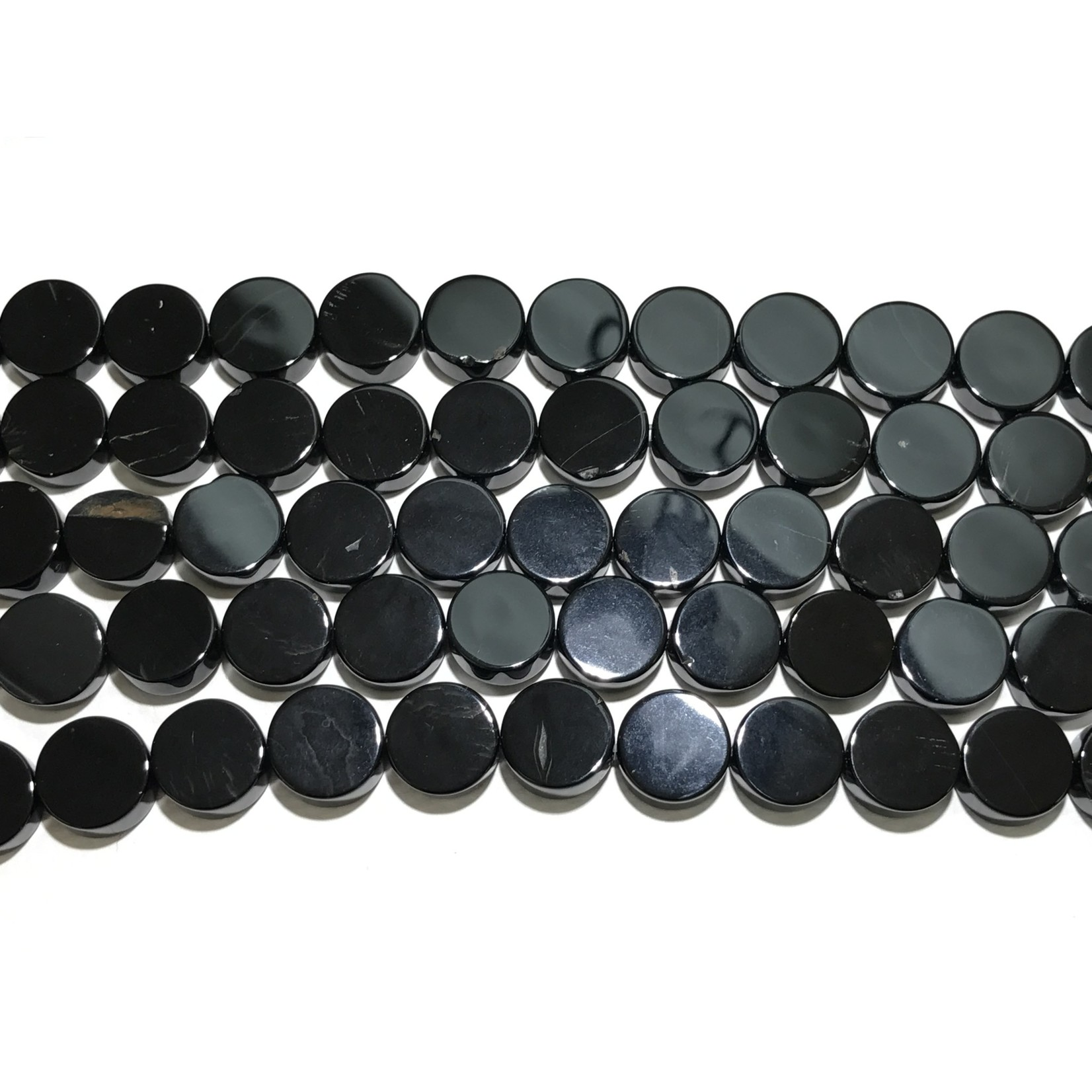 AGATE Dyed Black Flat Coins 12mm