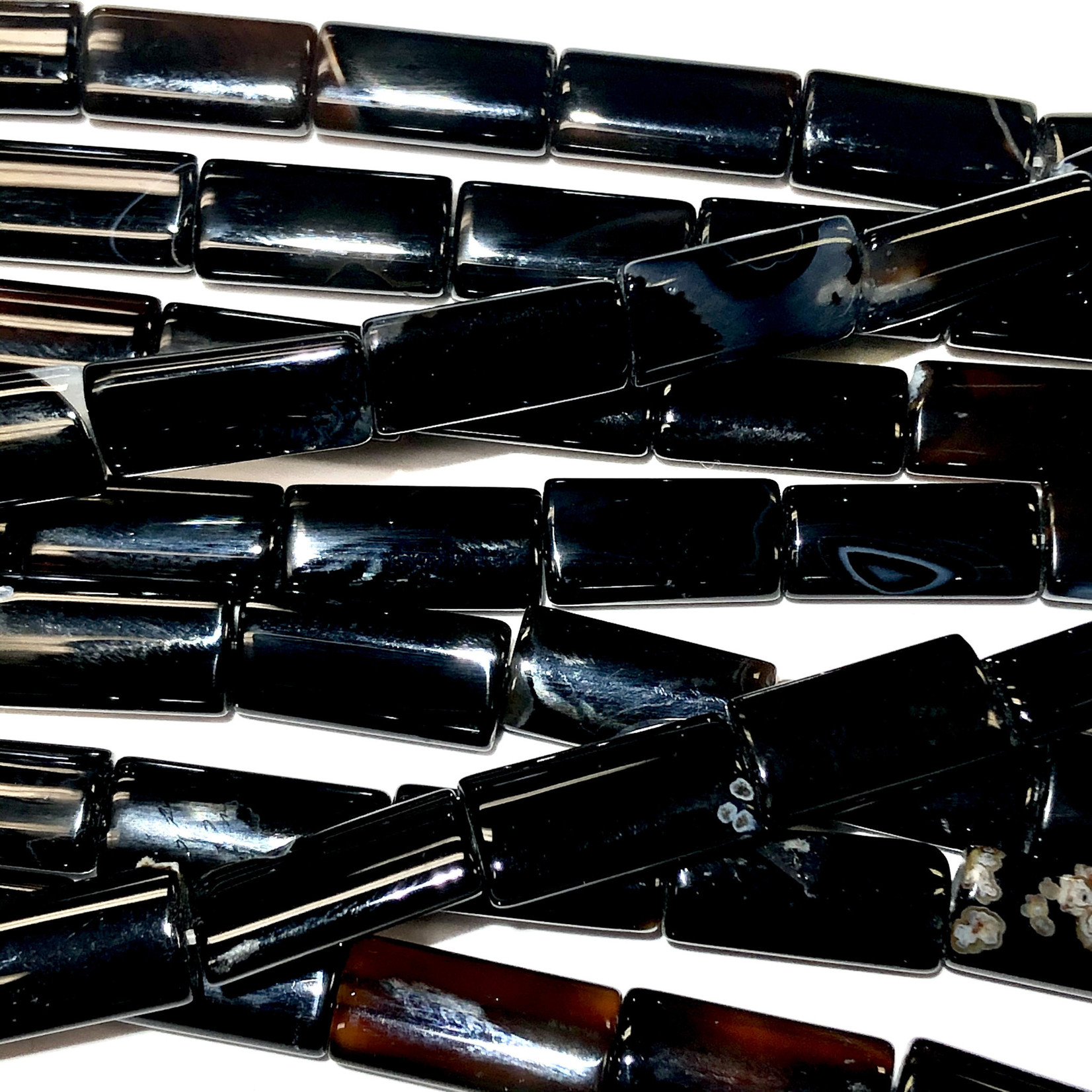 Black Agate Natural 8 x 16mm Rectangles