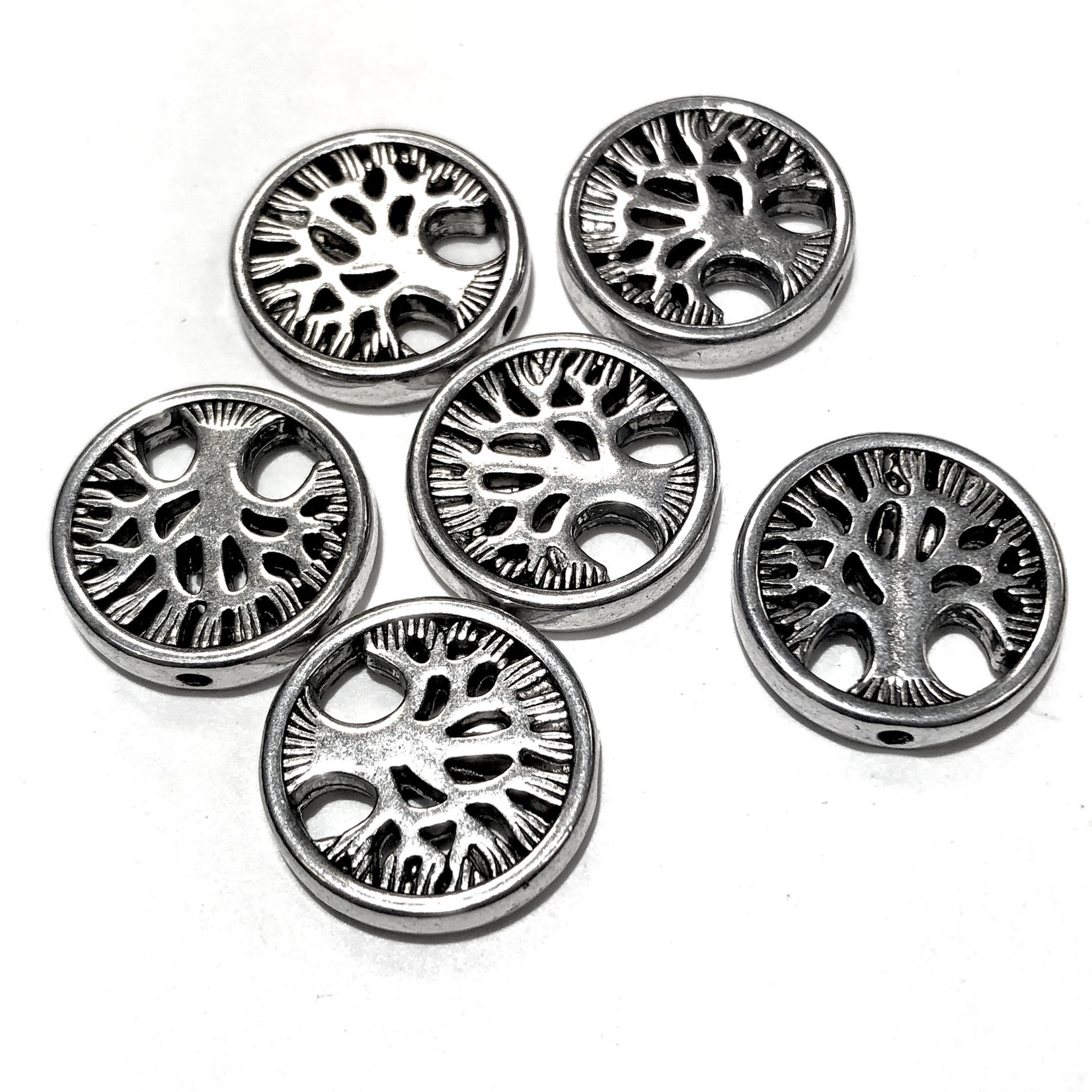 Antique Silver Alloy Tree of Life BEAD 18mm 6pcs