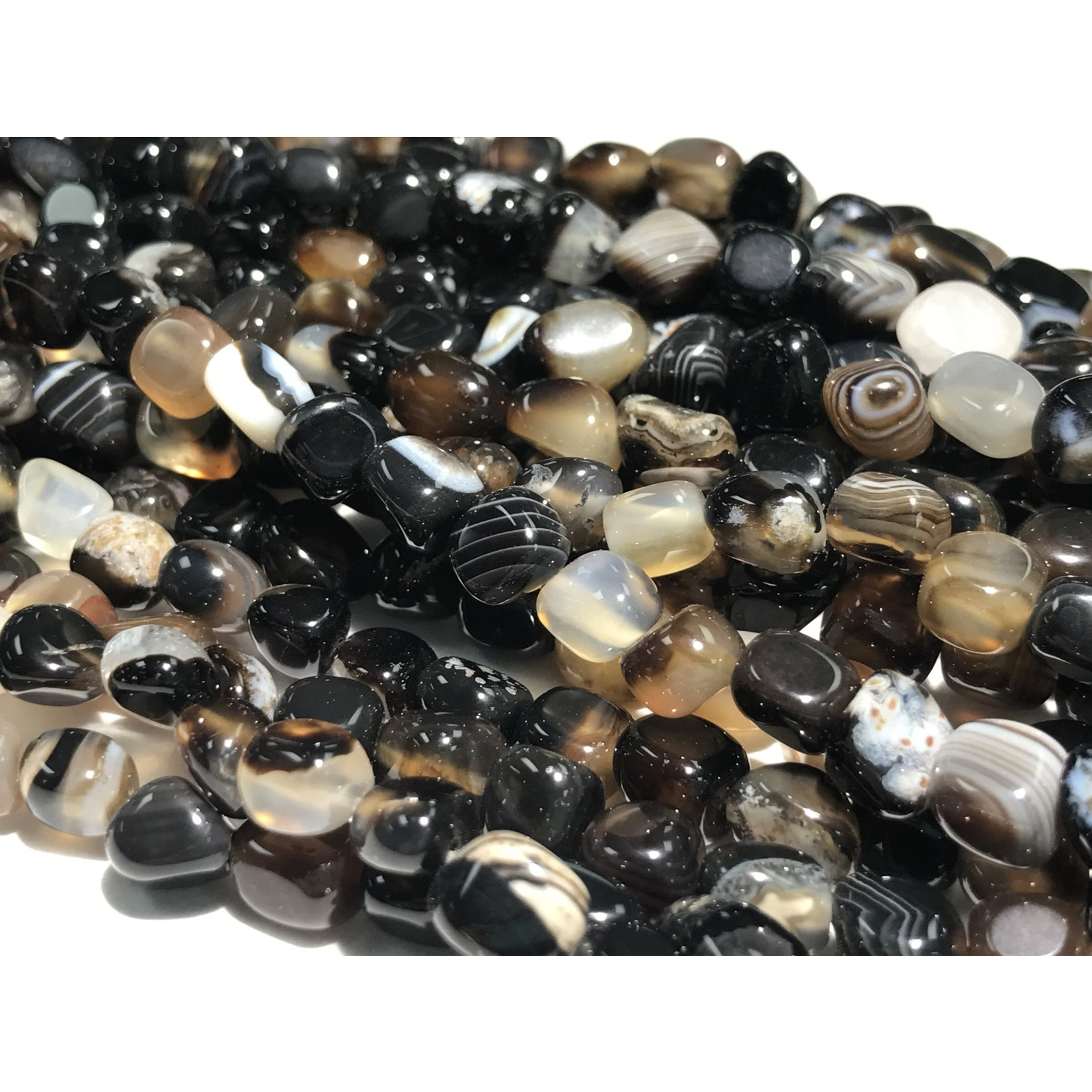 Black Agate Small Nugget Beads (Natural) 5-7mm