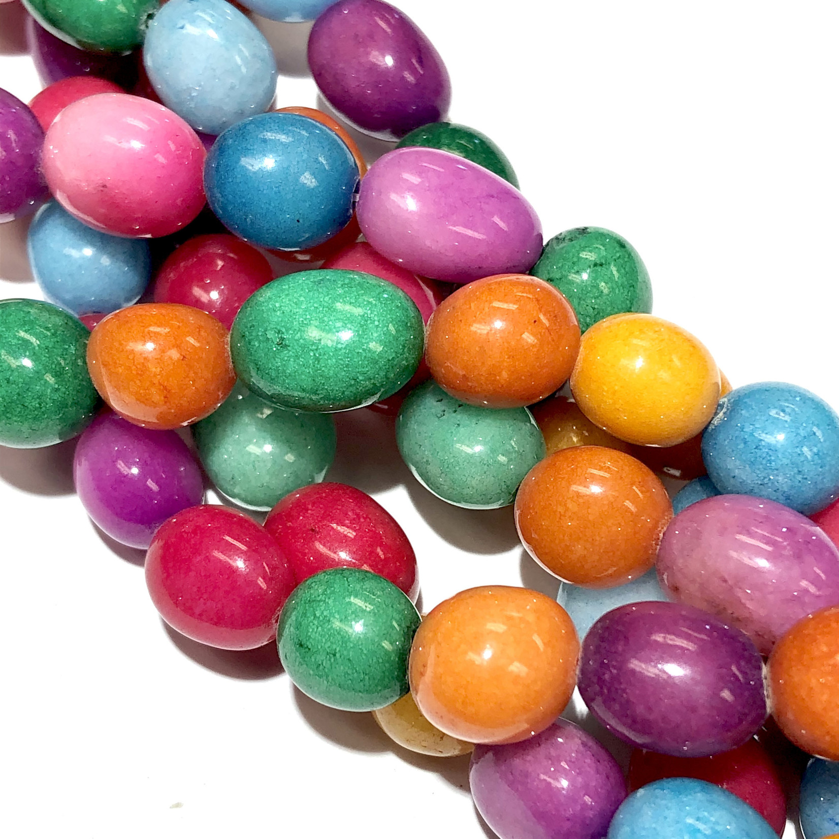 CANDY JADE Multi-Coloured Nuggets 10 X 14mm
