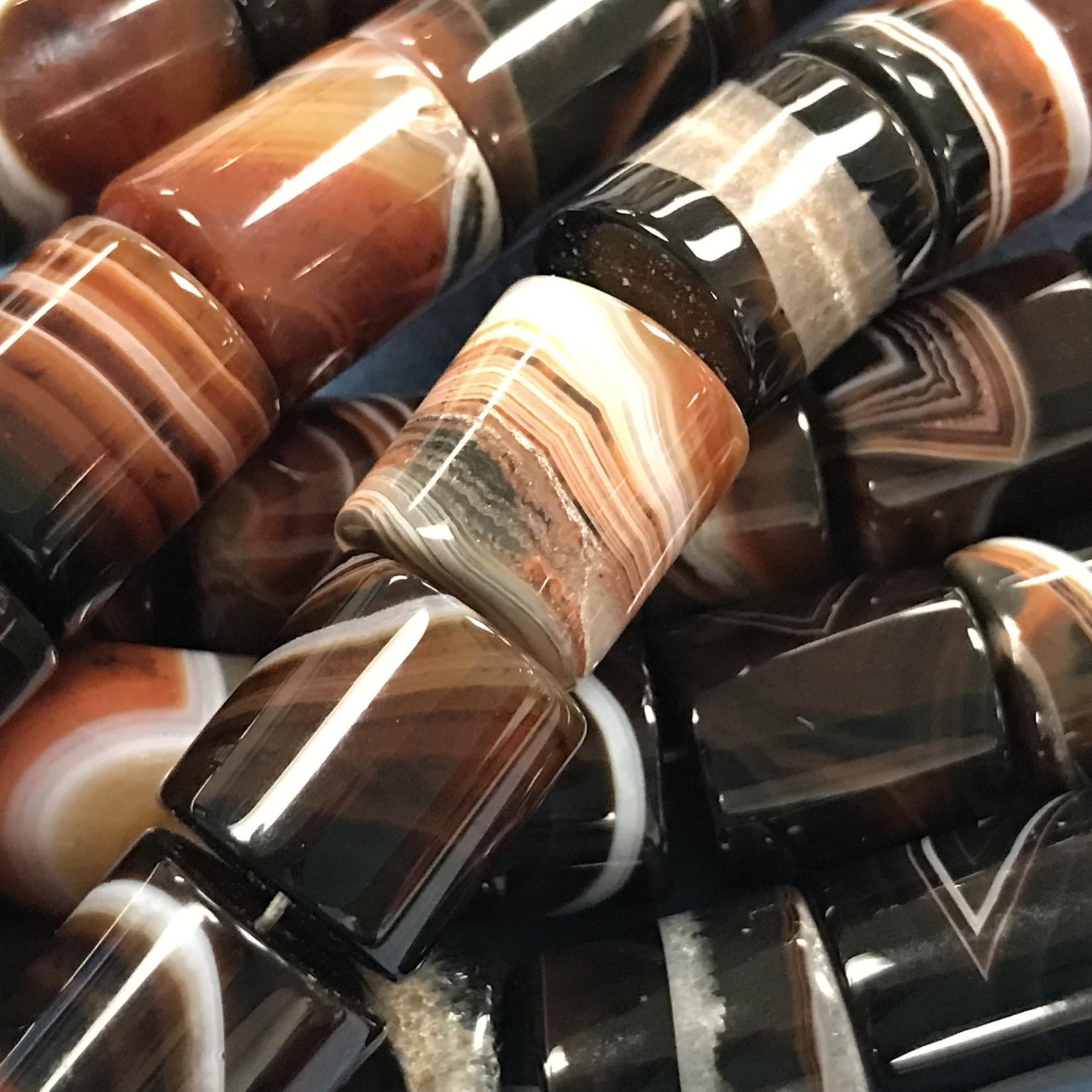 AGATE Natural 17 x 15mm Columns Dk. Brown
