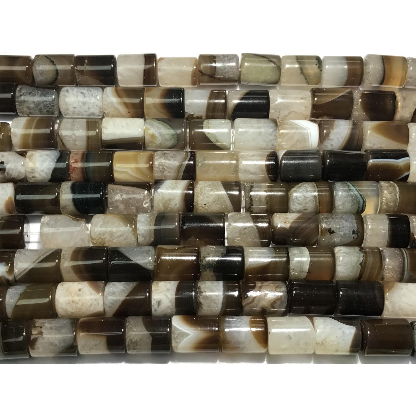 AGATE (Natural) Brown Crystal Columns 16 x 12mm