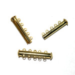 Magnetic Slide Clasp Gold Plated 5 Strand 4pcs
