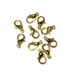 Gold Plated 12mm Lobster Clasp 15pcs