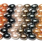 """Glass Pearl Drops 10x15mm Mix - 11-12"""" Strand"""