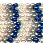 """Glass Pearl Drops 8x12mm Mix - 11-12"""" Strand"""
