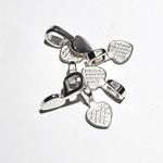 Flat Pad Glue-On BAILS Silver Hearts 15/pkg