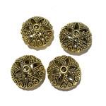 Brass Antique Gold Filigree Beads 19x12mm 4pcs