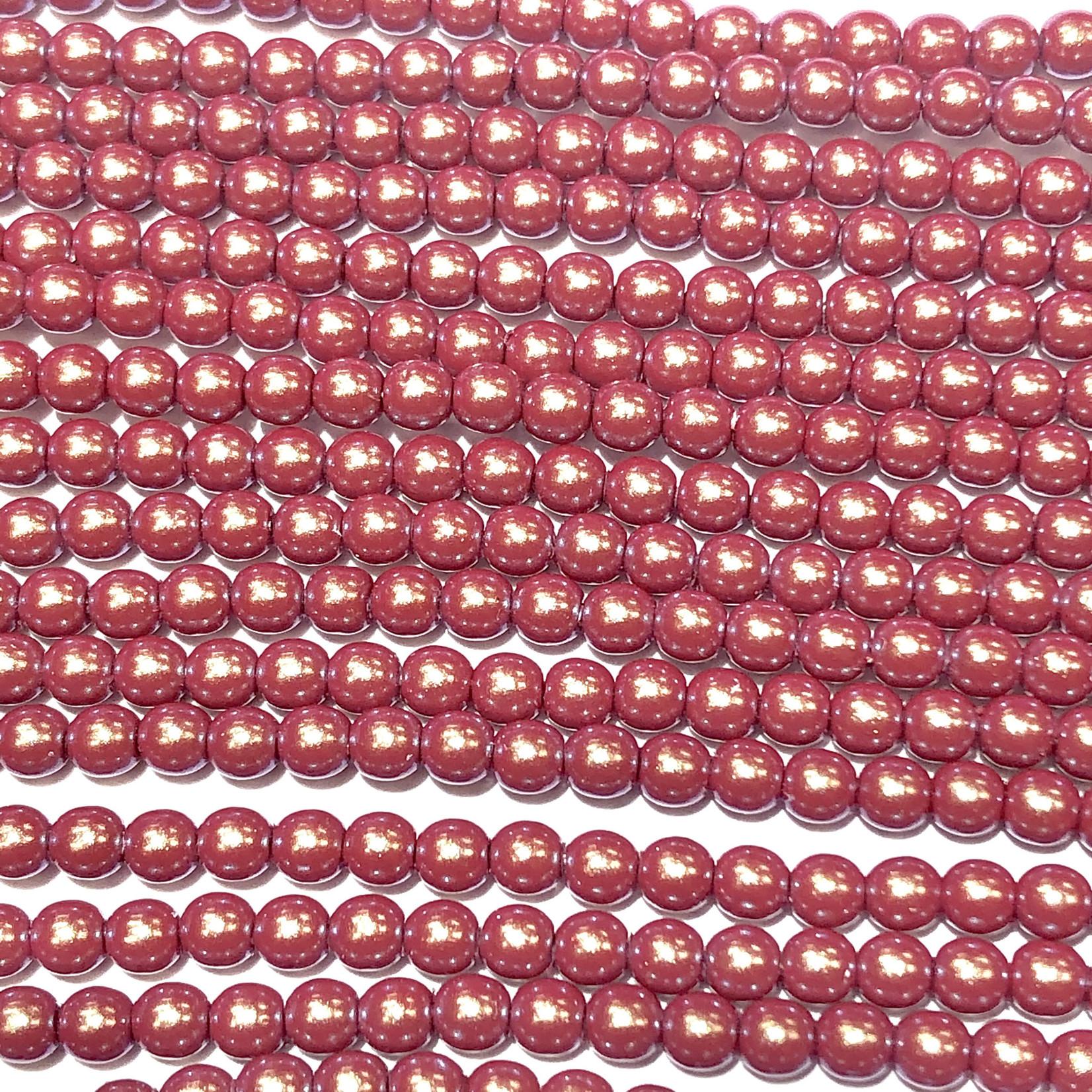Czech Glass Pearl 3mm Cranberry Gold 150pcs