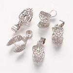 Silver Plated Ice Pick Bails 24mm Leaf Design 6/pkg
