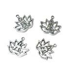 Tibetan Silver Alloy Lotus/Yoga Charm 16x18mm 8pcs