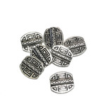 Silver Plated 12x15mm Aztec Focal Bead 16pcs
