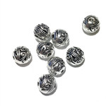 Silver Plated Decorative 8mm Brass Bead 12pcs