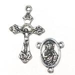 Antique Silver Rosary Cross & Centre Set 4