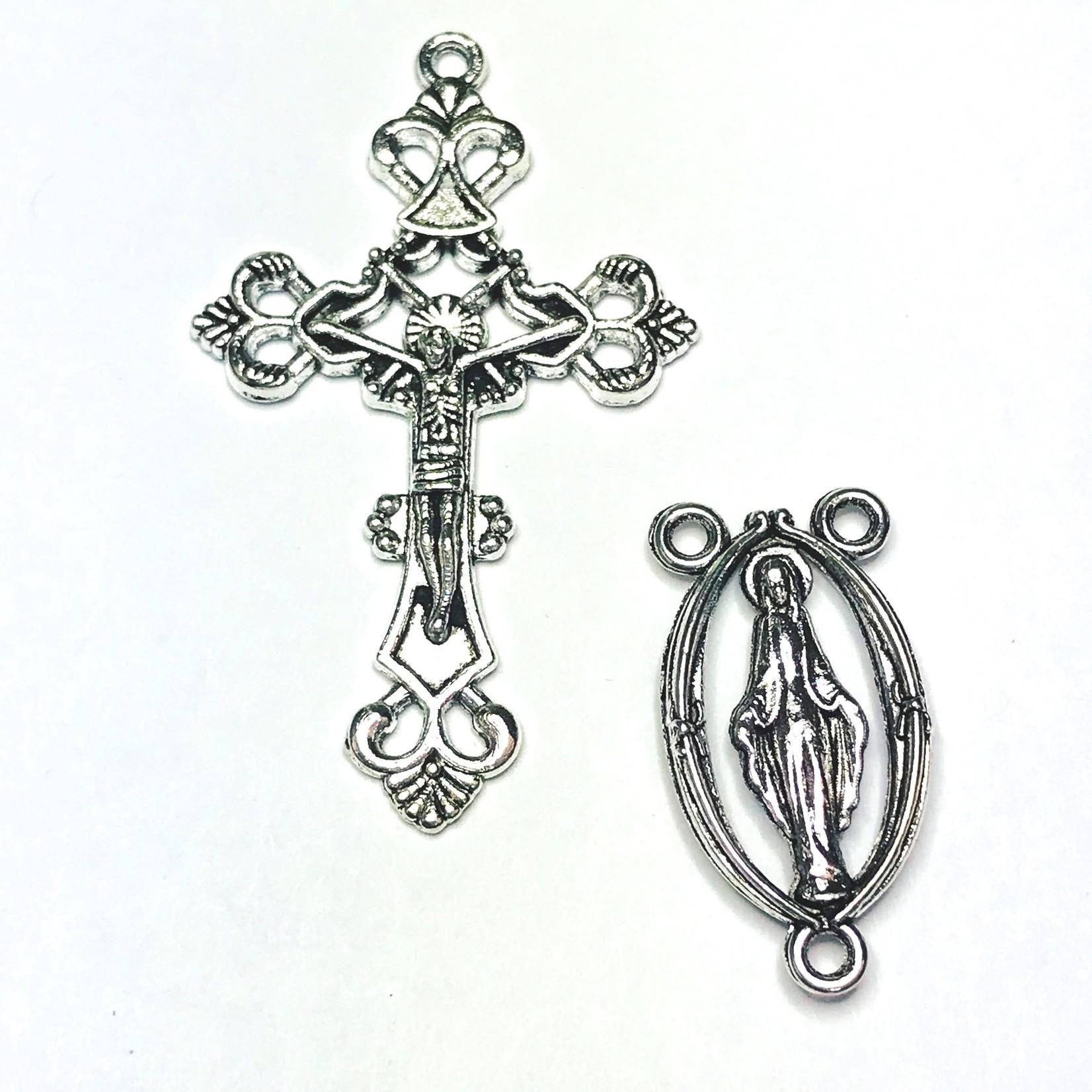 Antique Silver Rosary Cross & Centre Set 43mm
