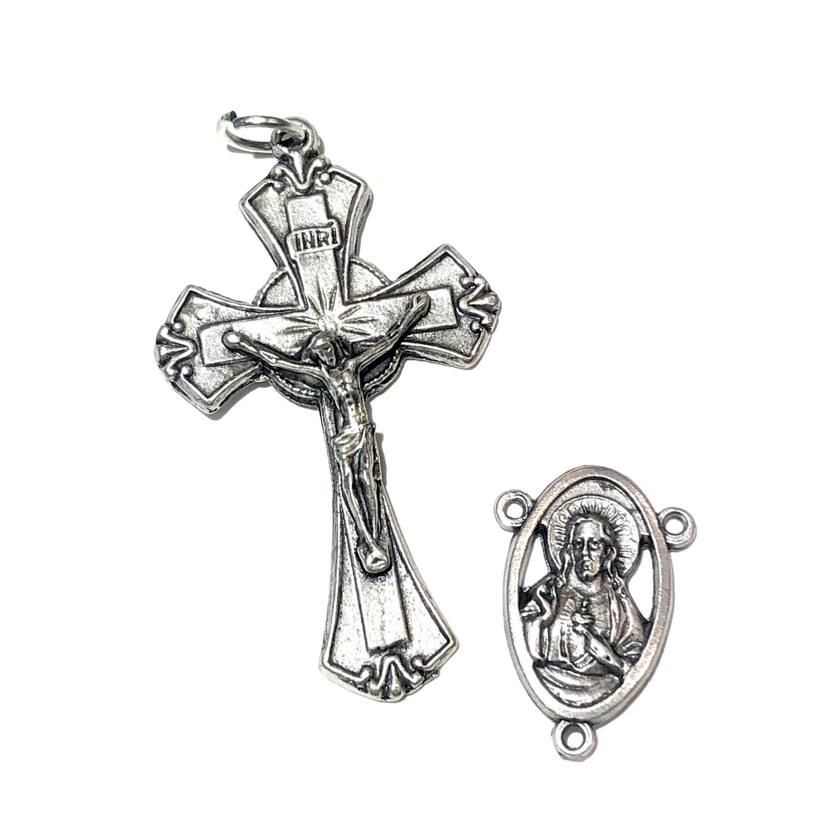 Antique Silver Rosary Cross & Centre Set 45x26mm