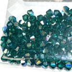 Preciosa Crystal 4mm Bicone Emerald AB 144pcs