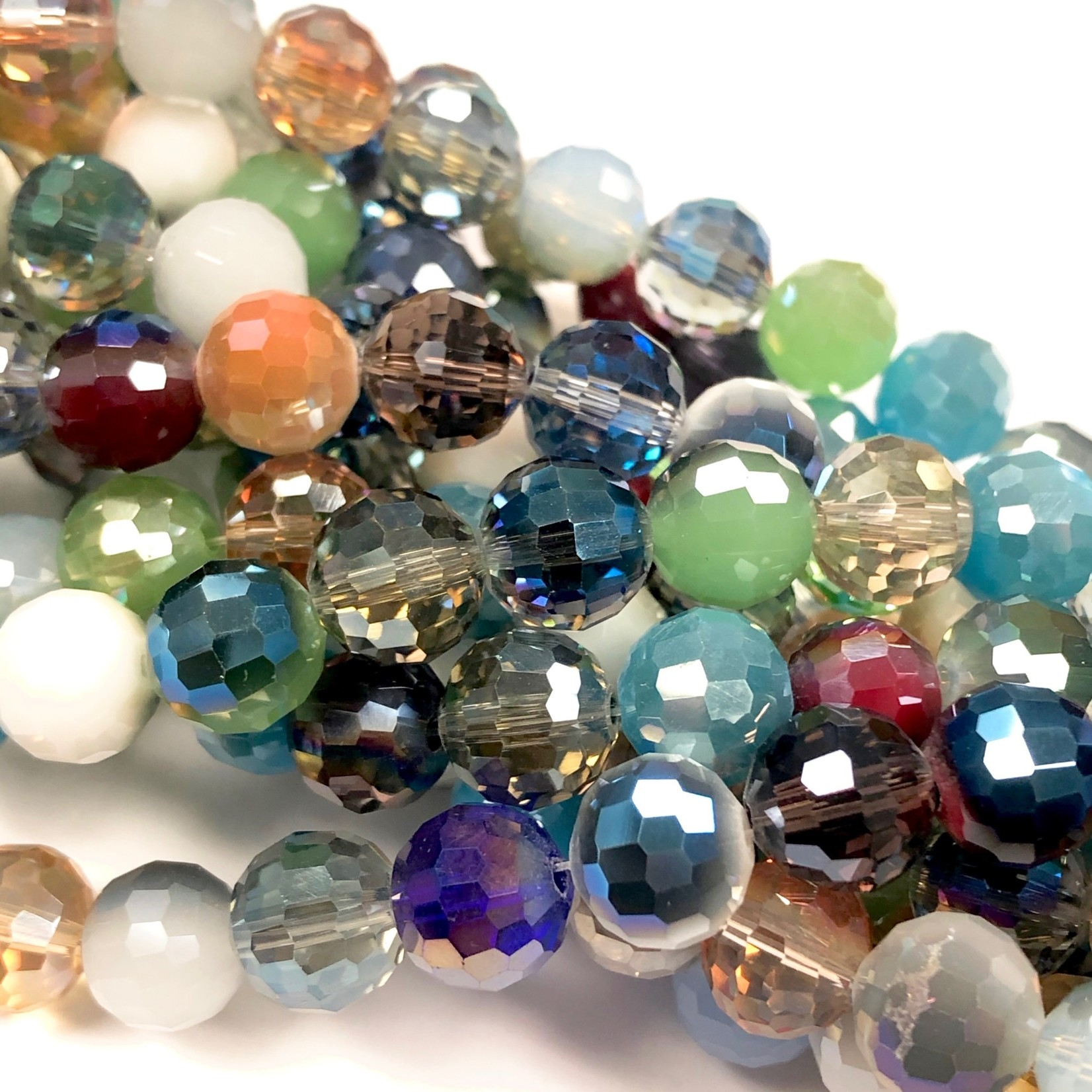 Electroplated GLASS Faceted Round 9mm Mixed