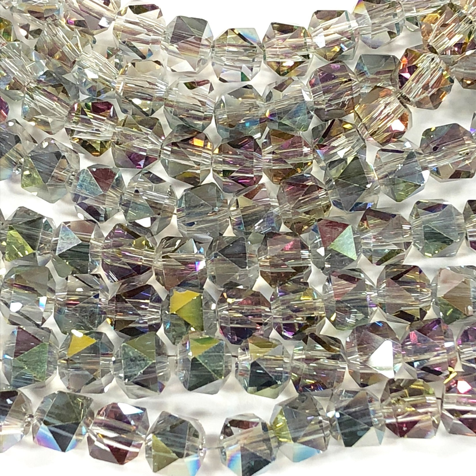 Electroplated GLASS AB Grey 7mm Faceted Lantern