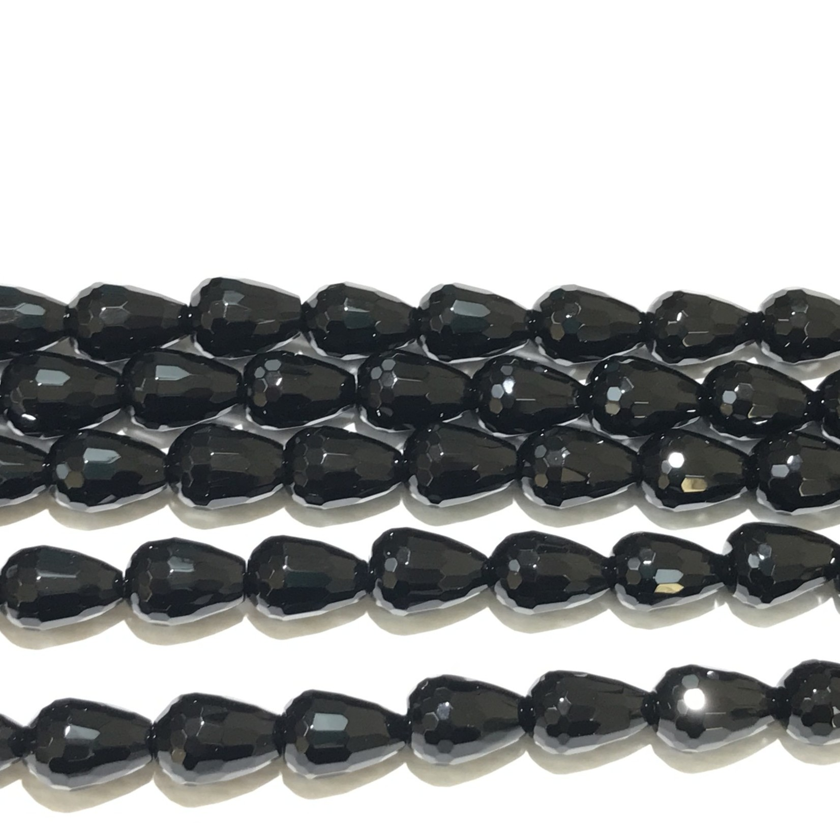 AGATE Dyed Black Teardrops Faceted 12x8mm