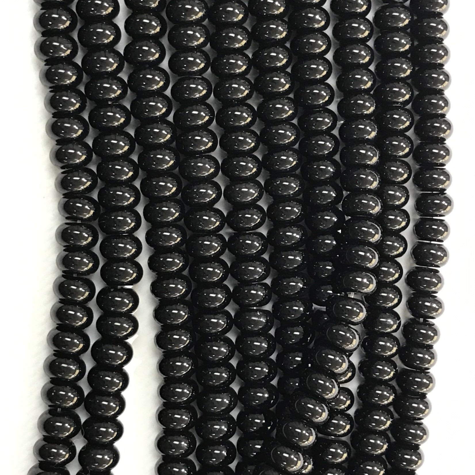 Black Agate Abacus/Rondelle Beads 8 - 9mm