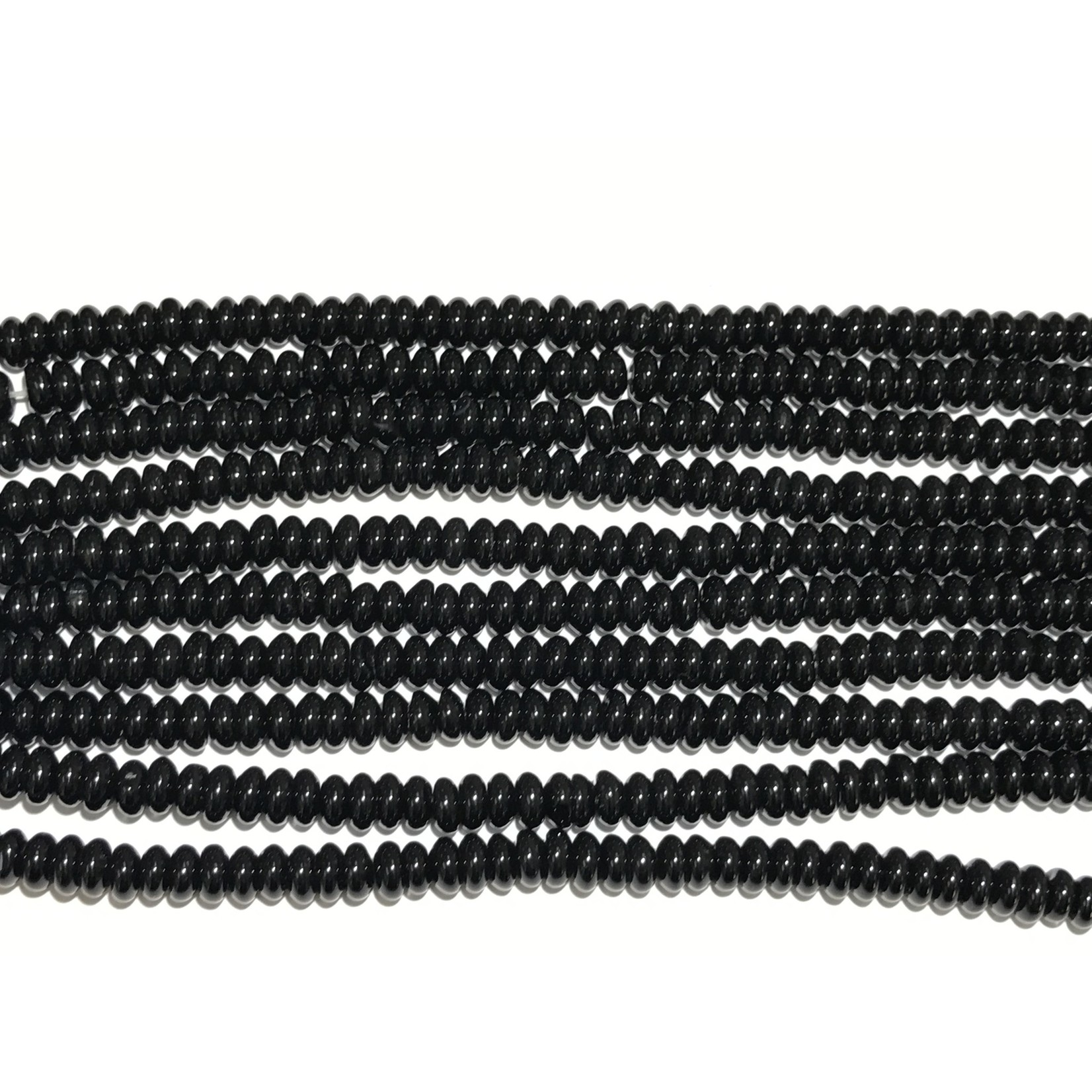 Black Agate Abacus/Rondelle Beads 6 X 3mm