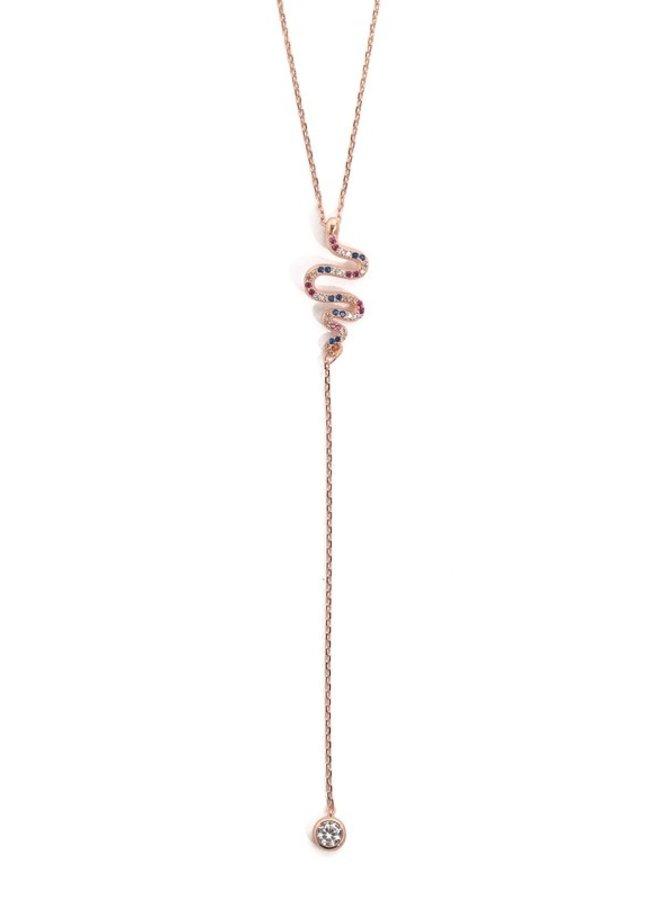 Rose gold snake necklace