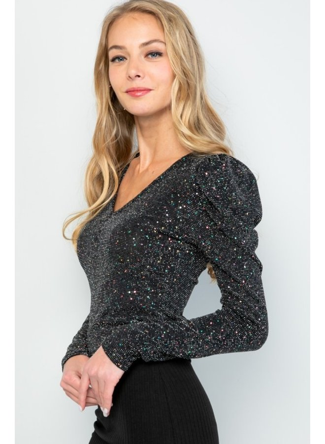 Sparkle Puff Sleeve Top
