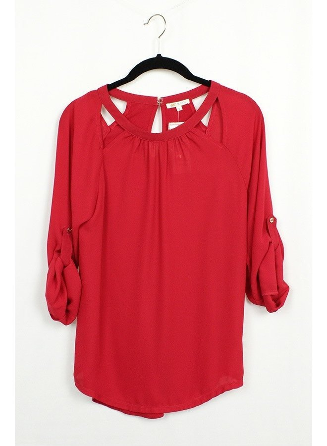 Solid keyhole blouse