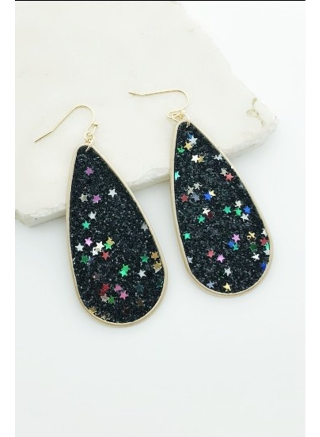 Glitter Stars Teardrop Earrings