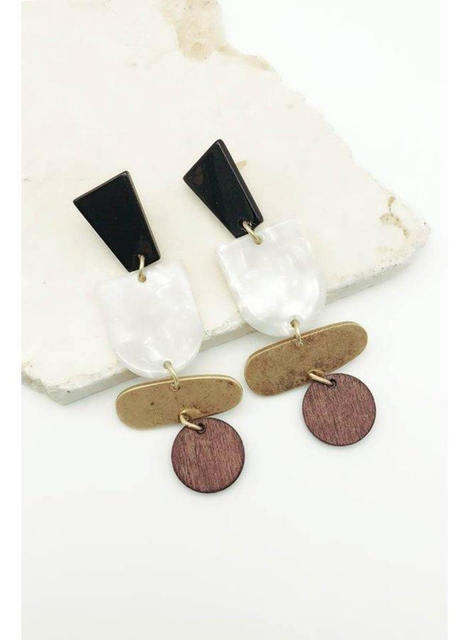 Multi Shape & Material Earrings